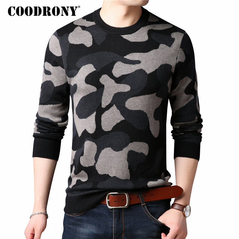 COODRONY Sweater Men O-Neck Cashmere Woolen Winter Fashion Warm Thick Pattern 8191