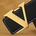 2016 дизайнер ремни мужчин высокого качества L роскошные Подлинная ремни марка гладкий V пряжки ceinture homme роскошный ремни для женщин X4
