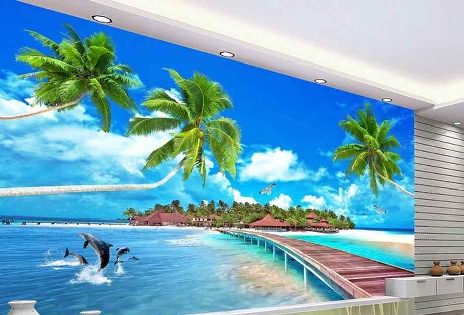 customize 3d mural Maldives love the sea 3d wall murals wall paper bedroom living room wallpaper modern 3d photo wall murals
