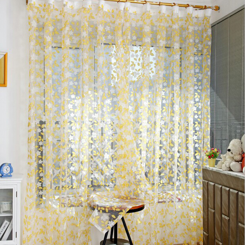 1pcs Curtain Rustic Tulle Chic Leaf Pattern Window Screen Curtains Rural Design Voile 1m 2m In From Home Garden On