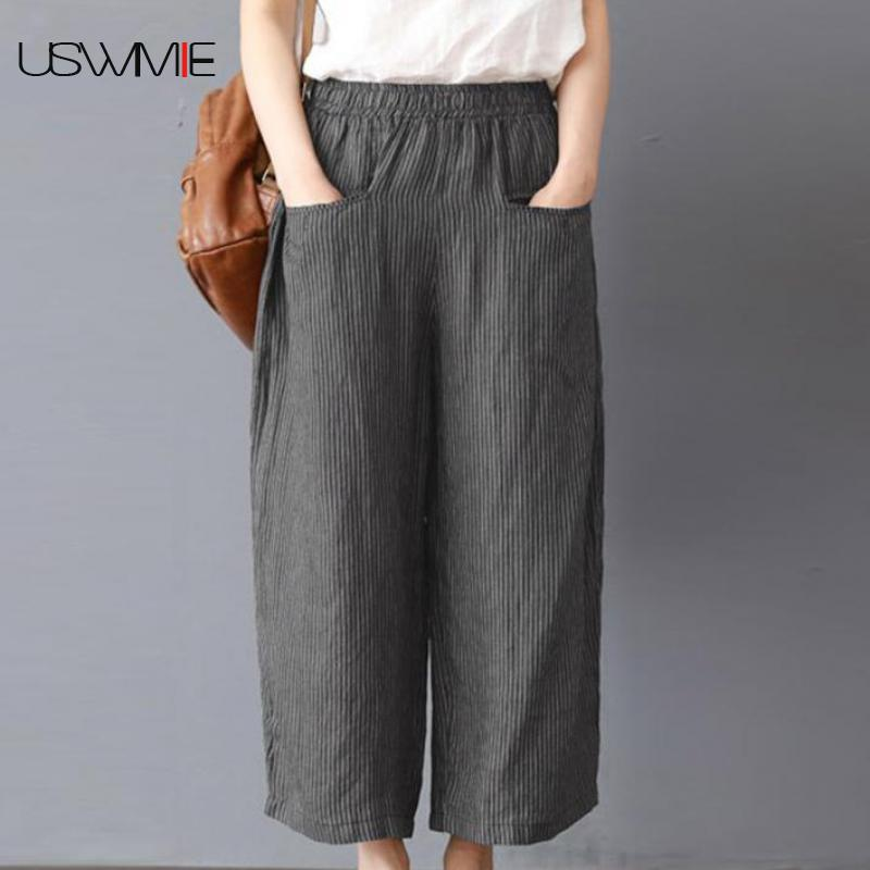 2019 Summer   Wide     Leg     Pants   Art Leisure Stripe Elastic Waist Solid Color Pockets Loose Comfort Plus Size Dark Gray Straight   Pants