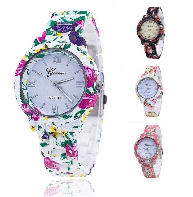 MEIBO Fashion Geneva Floral Plastic Flower Bracelet Clasp Women Watches Ladies Dress Quartz Wristwatches Women Watches Relogio