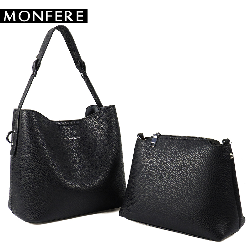 MONFERE Soft PU Leather Women Handbag Set Solid Female Shoulder Bag Girls Crossbody Messenger bag Casual High Quality Bucket Bag interatletika бт 113