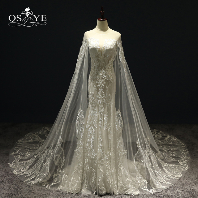f5c3c9c263f 2018 New Luxury Wedding Dresses with Cape Sexy Transparent V Neck Lace  Beaded Tulle Bridal Dress Wedding Gown Custom Made