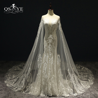 2018 New Luxury Wedding Dresses With Cape Sexy Transparent V Neck Lace Beaded Tulle Bridal Dress