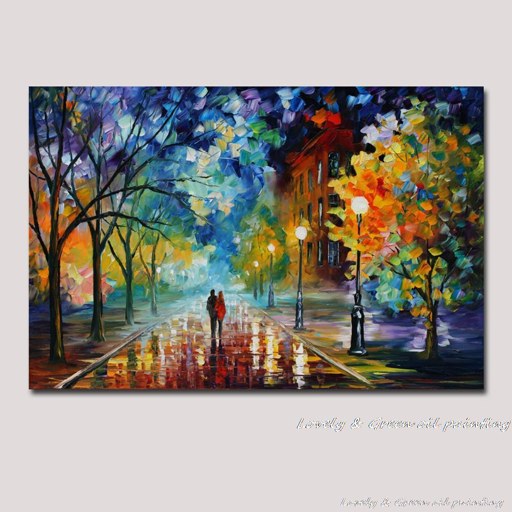 100 Hand Drawn City At Night 3 Knife Painting Modern: 100% Hand Painted Modern Palette Knife Textured Oil