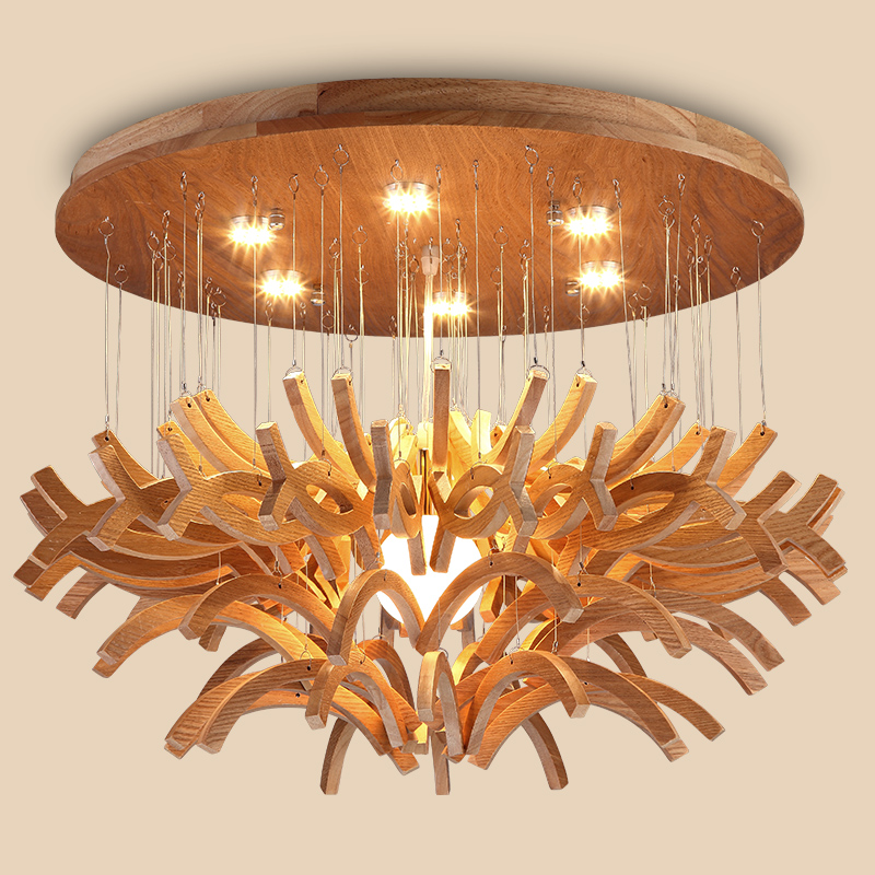 Designer Nordic log art Seminal Hotel living room dining room Pendant Lights personality wood ceiling lamp LU630 ZL31 a1 master bedroom living room lamp crystal pendant lights dining room lamp european style dual use fashion pendant lamps