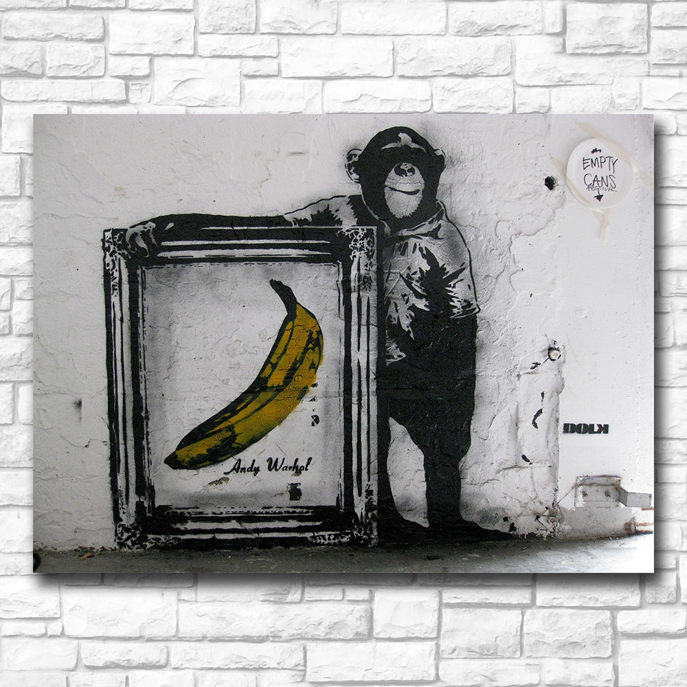 Chimps and Andy Warhol bananas Canvas Painting For Living Room Home Decor Oil Painting On Canvas Wall Painting