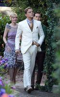Custom Great Gatsby Dress White Slim Suit for Groom Wedding Tuxedo Men Suits 2 pieces
