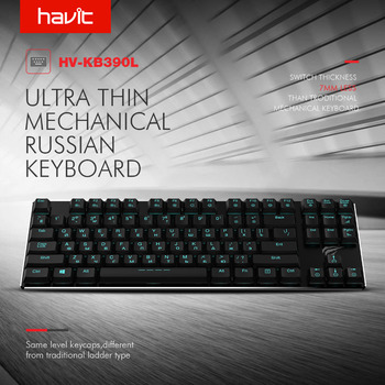 HAVIT Mechanical Keyboard 87 Keys Ultra Low Axis Extra-Thin Mini Gaming Keyboard Blue Switche for PC/Laptop HV-KB390L(Russian) 1