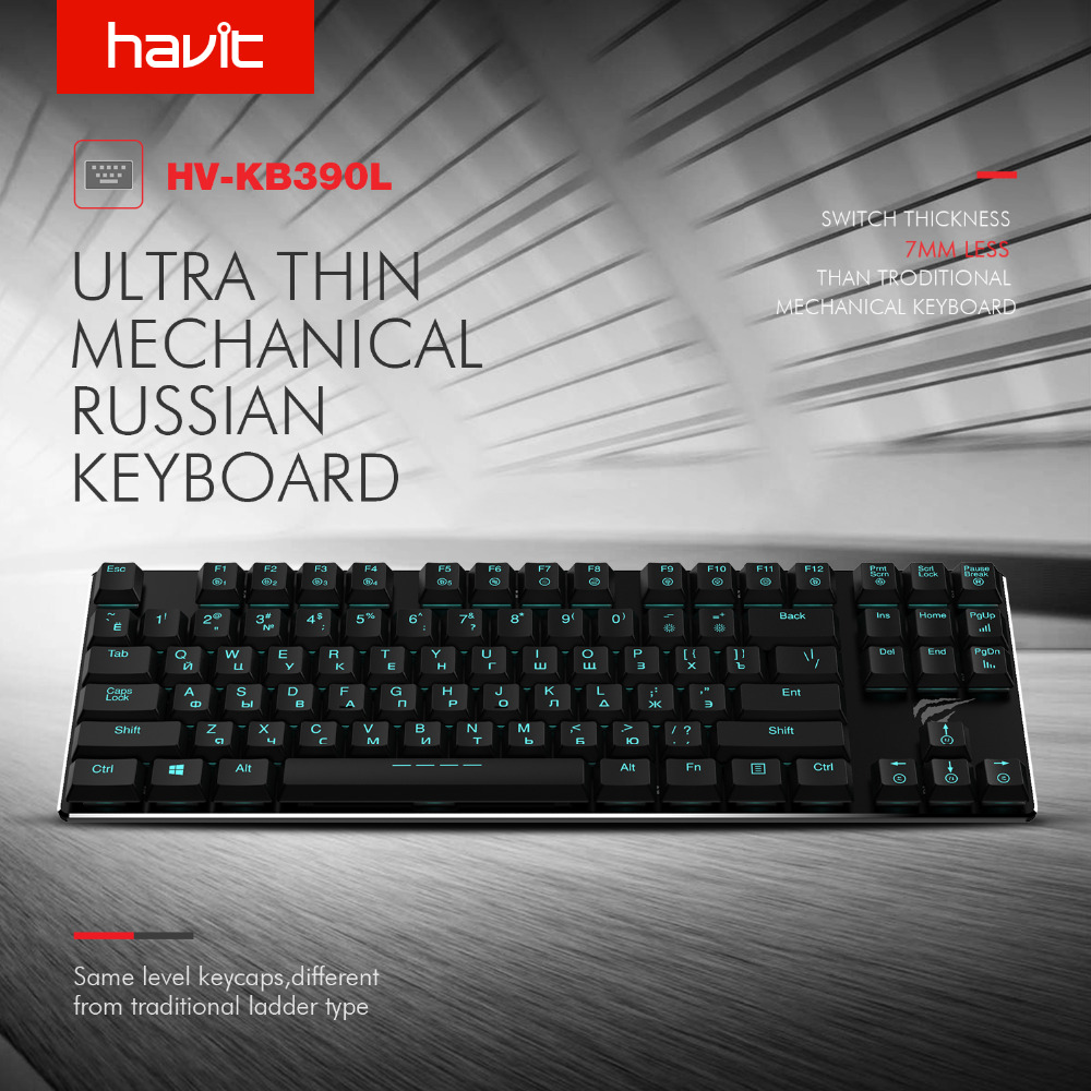 HAVIT Mechanical Keyboard 87 Keys Russian Gaming Keyboard Extra-Thin Mini Keyboard with Blue Switche for PC/Laptop HV-KB390L(RU) rainbow gaming backlight keyboard 87 keys colorful mechanical keyboard with blue black switches desktop for pc laptop