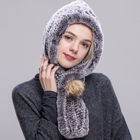 ZDFURS* Real Rex Rabbit Fur Hooded Scarf Knitted Rex Rabbit Fur Fashion Women Scarf Winter Hat Pompom Scarf Cap Female