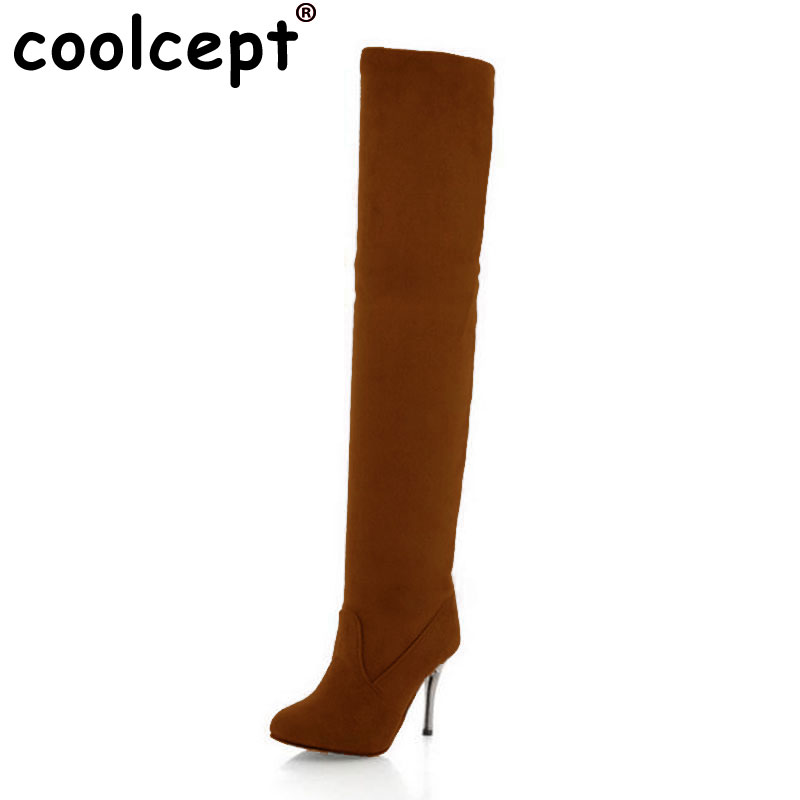 Coolcept Size 35-43 Women Thick Fur Boots High Heel Boots For Cold Winter Shoes Warm Botas Long Boots For Sexy Women Footwears