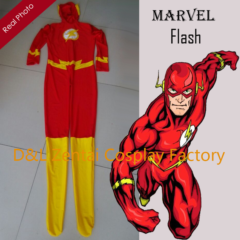 Free Shipping DHL 2015 Halloween Costumes For Men Lycra Spandex The Flash Adult's Costume SH1639