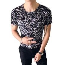 Summer British style sexy leopard mens round neck short-sleeved T-shirt half-sleeved shirt t-shirt tights tide