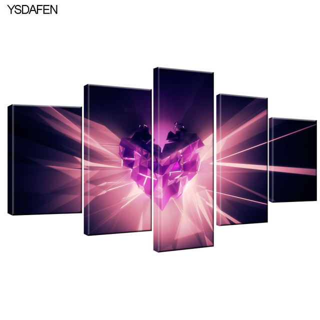 5 Pieces/set Canvas Print Abstract heart purple Wall Art Picture ...