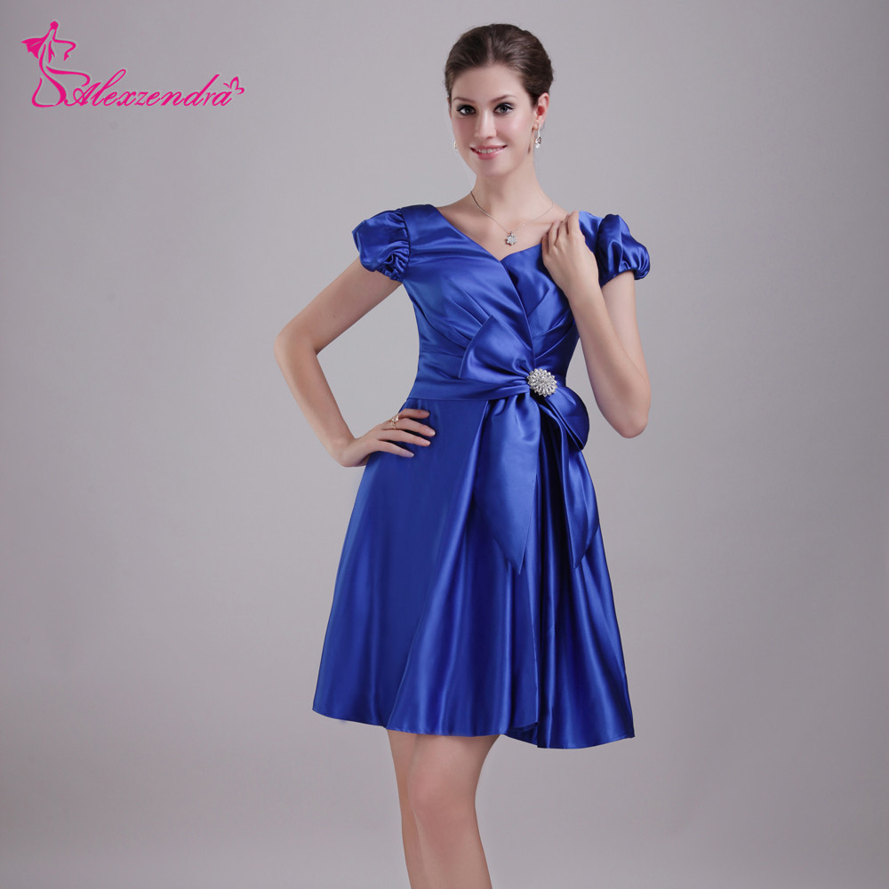 Alexzendra Double V Neck Short Mini Bridesmaid Dress for Wedding Cap Sleeves Party Dresses Plus Size