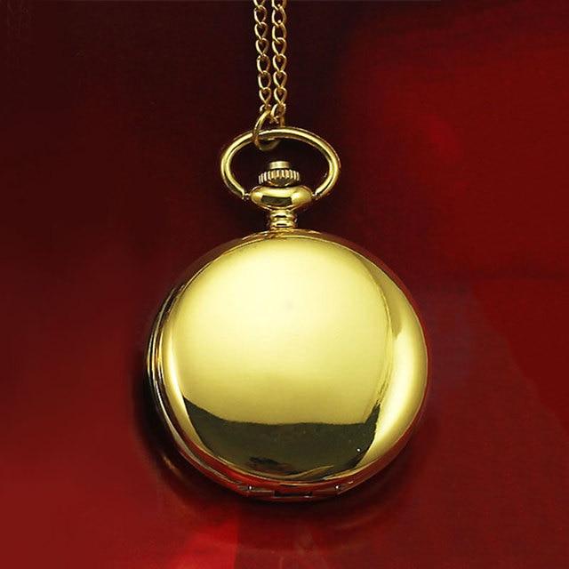 Classical 45*45mm Polish Quartz Men Pocket Watch Necklace Relogio De Bolso Gift