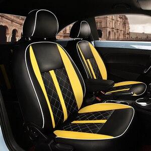 Image 5 - (2 קדמי + 2 אחורי) מותאם אישית רכב מושב כיסוי מושב מכונית עור באיכות גבוהה כיסוי עבור פולקסווגן חיפושית אביזרי רכב סטיילינג