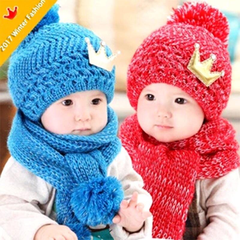 2017 Cute Crown Winter Baby Toddler Kids Boys Girls Knitted Eool Scarf Cap Set Crochet Beanie Headwear Hair Blue Pink Red Yellow