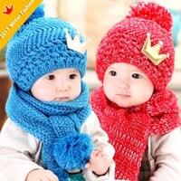 2018 Cute Crown Winter Baby Toddler Kids Boys Girls Knitted Eool Scarf Cap Set Crochet Beanie Headwear Hair Blue Pink Red Yellow