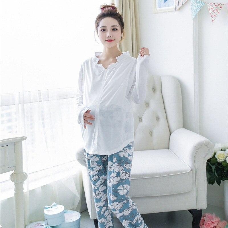 summer/autumn maternity sleepwear cotton print sleepwear set adjustabe waist breast feed clothing pregnancy Pajama Sets 835|pregnancy pajamas|maternity sleepwear|sleepwear maternity - title=