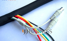 5/16 ID 8mm  woven wrap split braided sleeving cable black free shipping cable wrap