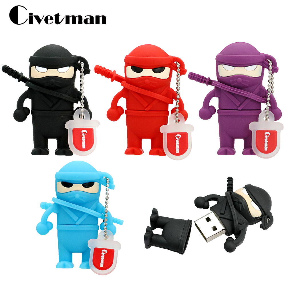 Cartoon Ninja. USB Stick Flash Memory Naruto 8GB 16GB 32GB 64GB 128GB Pen Drive Warrior Ninja Pendrive USB Flash Drive Gifts
