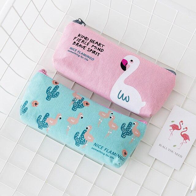 Flamingos Minimalista coreano Bonito Saco de Lona, Menina Estudante Fresco Zíper, Grande Capacidade Saco de artigos de Papelaria Material Escolar Estacionário