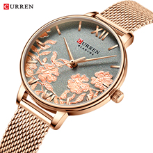 CURREN New Fashion Women Flower Watch 2019 Top Brand Luxury Stainless Steel Bracelet Watches for Ladies Wristwatch Gifts