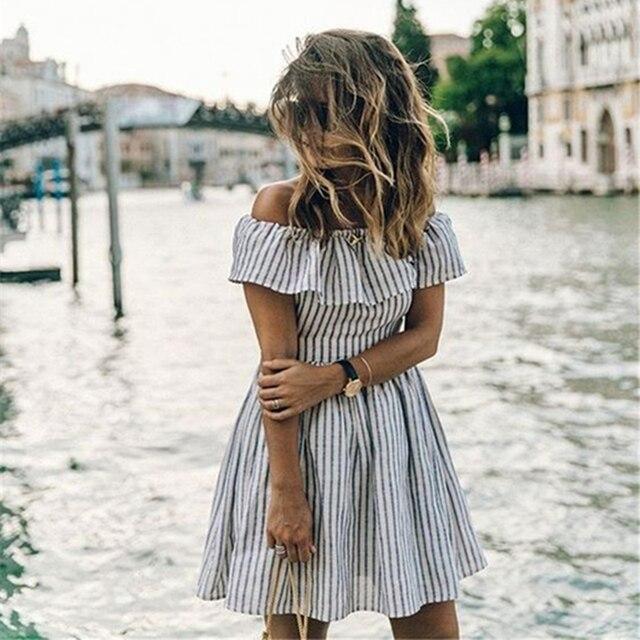 988ac76328a Летнее платье 2018 новые модные женские туфли в полоску с открытыми плечами  платье Клубные пикантные пляжные