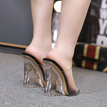 Sexy 2 Colors Transparent Crystal Women's Slippers 2020 Wedge Heel Shoes Slides High Heels Women Shoes Fashion Wedge Sandals 5