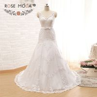 Rose Moda V Neck Trumpet Wedding Dress with Bow Lace Wedding Dresses for Black Girls Custom Made