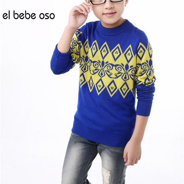 el bebe oso Boys Sweater 2016 New Autumn Winter Children Casual Knitwear Patchwork Patterns Boys Kids Fashion Outerwear XL549