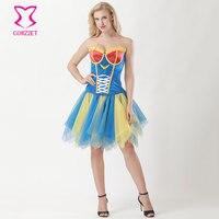 カーニバルパーティークラブワンダーウーマンコスプレ衣装大人のハロウィーンの衣装セクシーなファンシードレスバーレスクコルセットスカートセッ