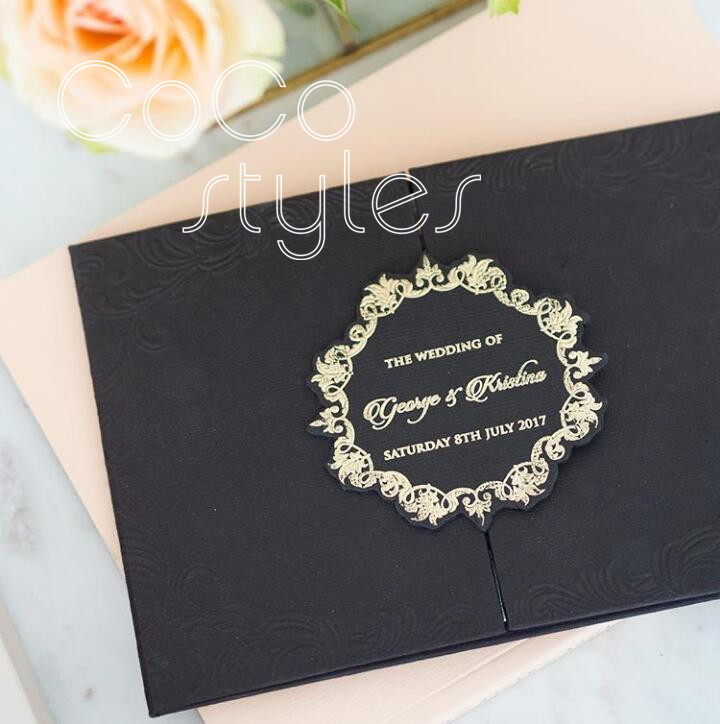 Cocostyles Diy Vintage Black Trifold Hardcover Wedding Invitation With Foiling And Cut Logo For Gatsby Party Events In Cards Invitations From