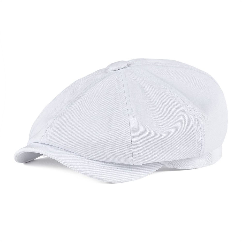BOTVELA Newsboy Cap Men's White Twill Cotton Hat Women's Baker Boy Caps Retro Big Headpiece Large Hats Cabbie Apple Beret 003