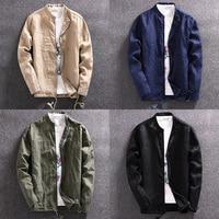 2017 New Fashion Breathable Ultra Thin Collarless Linen Jacket Men Summer Clothes Black Navy Khaki Olive