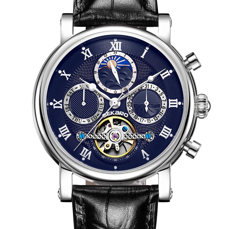 цены SEKARO 8018 Switzerland watches men luxury brand automatic mechanical watch men's hollow tourbillon watch fashion belt bracelet