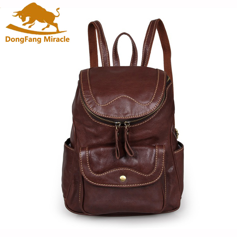DongFang Miracle New women bags Vintage Genuine Leather  Small women Backpack fashion travel bag for Girls Daily Rucksack