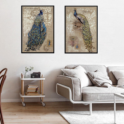 ad20c6a560 zm95 Chinese Vintage Style Peacock Painting Home Decor Wallpaper Canvas Art  Wall Stickers Frameless Poster For Room Decoration