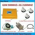 Cobrir 3 Quarto LCD GSM 3G WCDMA Repetidor de Sinal de Telefone Celular reforço GSM 900 3G 2100 Móvel Repetidor De Sinal Amplificador Com Antenas