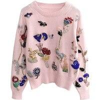 Осенне зимний свитер для Для женщин o образным вырезом трикотажные пуловеры Бисер и кристалл вышивка розовый свитер Повседневное теплый св