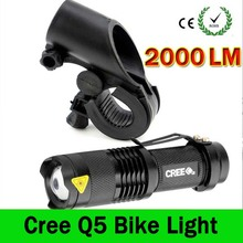 LED Bike Light 2000 Lumens Q5 LED Bicycle Light Cycling Zoomable Flashlight Mini Torch Bike Front Head Light With Mount