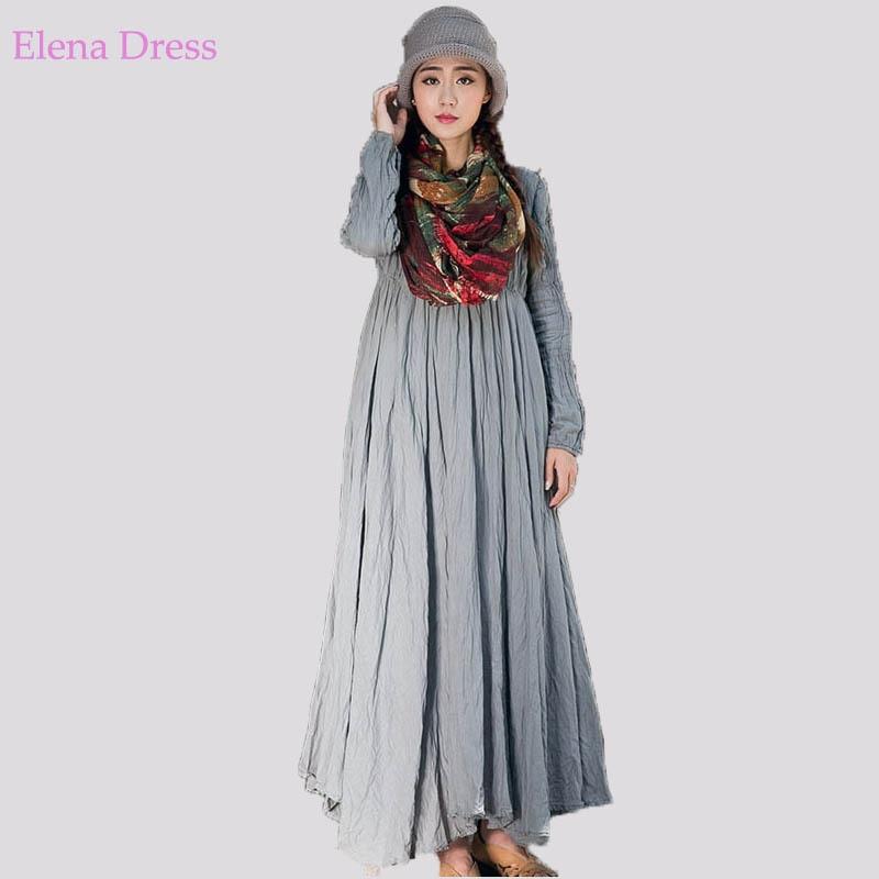Long Maternity Dress O Neck Long Sleeve Vintage Linen Robes White Orange Gray Maxi Dress A Line Arabic Muslim Vestidos De Festa Dress Food Dress Wovendress Size 2 Measurements Aliexpress