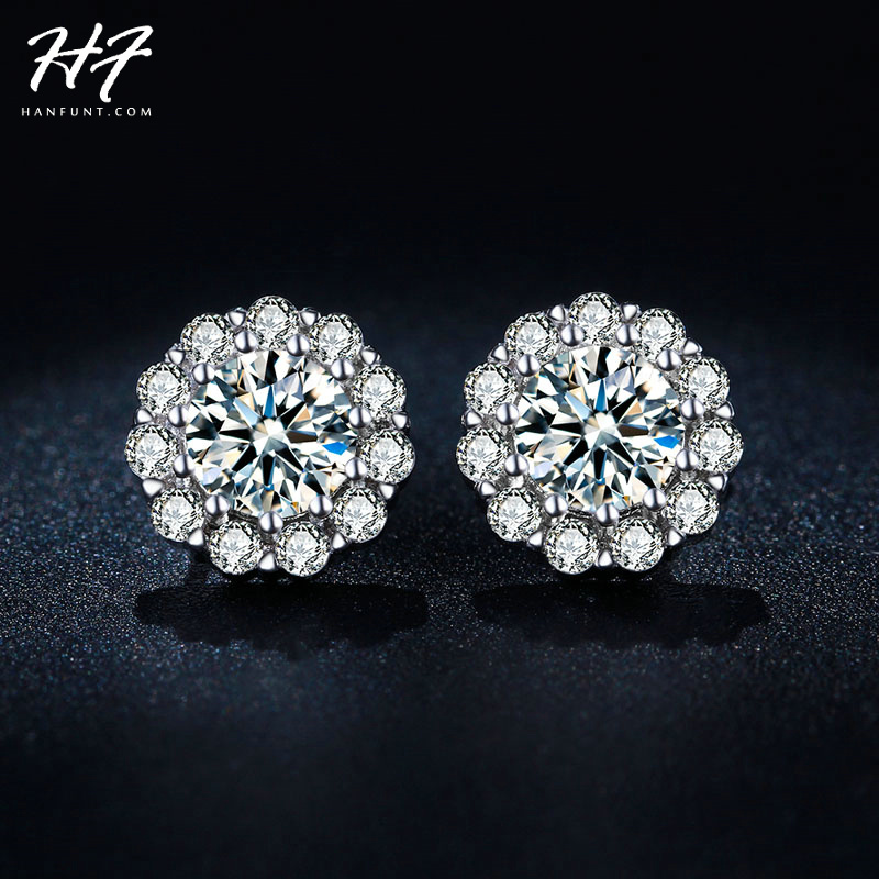 Classic Design Sliver Color Luxury Fashion CZ Crystal Elegant Wedding Stud Earrings Jewelry for Women E845