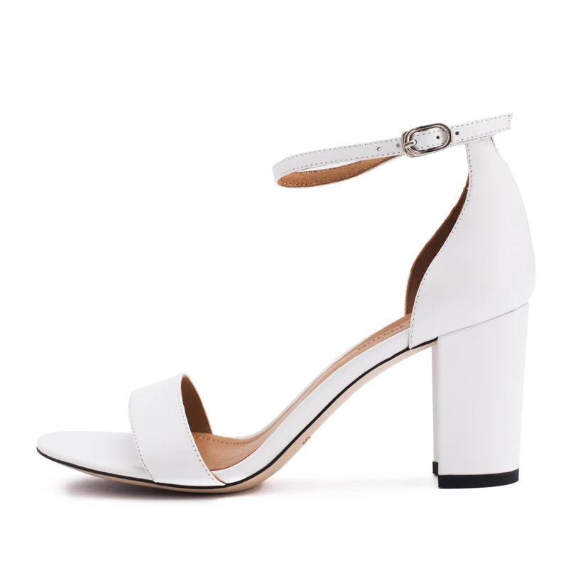 Stkehidba Ankle Strap Heels Women Sandals Summer Genuine Leather Shoes Women Open Toe Chunky High Heels
