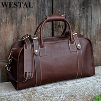 WESTAL Multi purpose Men's Travel Bags Leather Travel Duffle Bag Genuine Leather Men Bags Suitcase Weekend Bag Carry On Luggage
