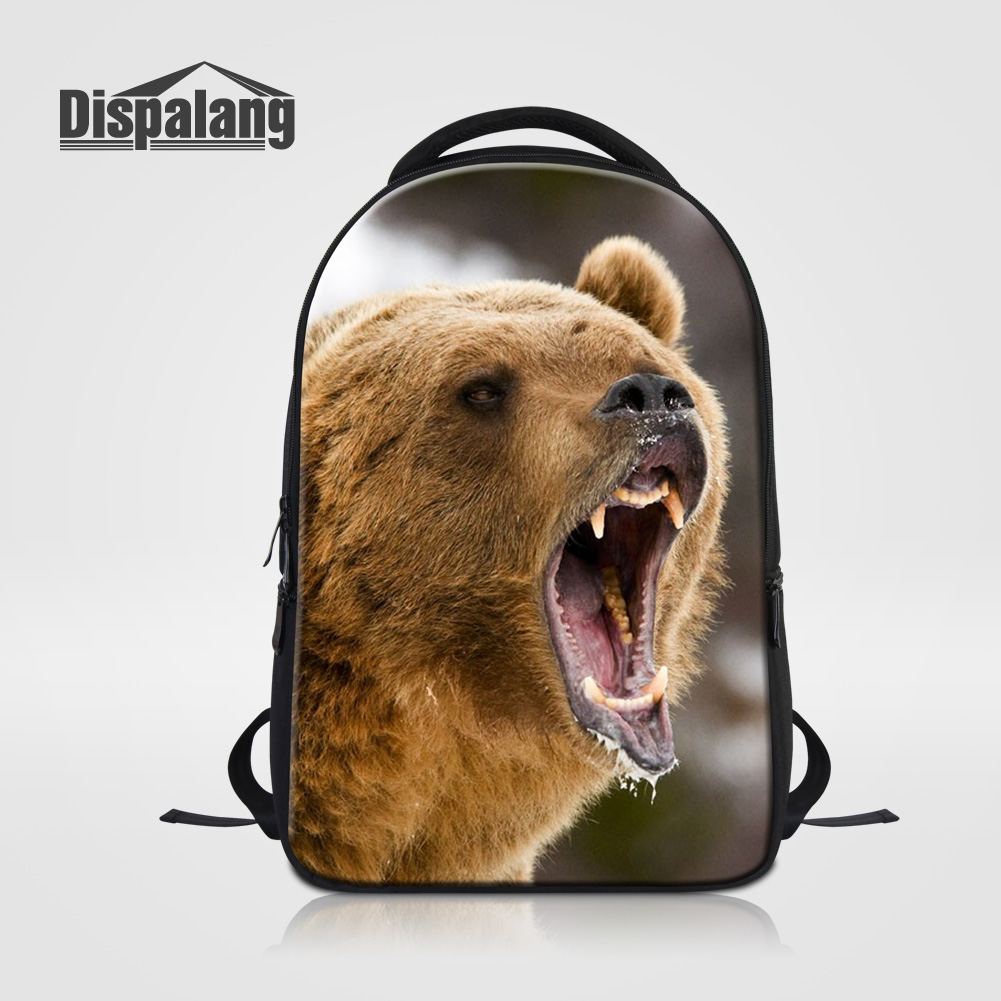 Dispalang Large Capacity Men s Travel Backpack Bear Printed Laptop Notebook Mochila For Teenage Boys Animal