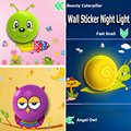 3D Звездная Ночь ПРИВЕЛИ Ребенка Прикроватные Лампы Сова Caterpillar Детские Спальни Свет Ночью Датчик Освещения Дети Стены Lamparas Стикер